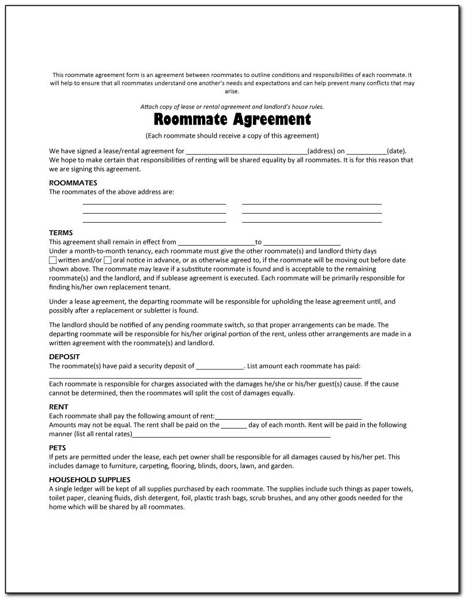 Free Roommate Agreement Template Uk