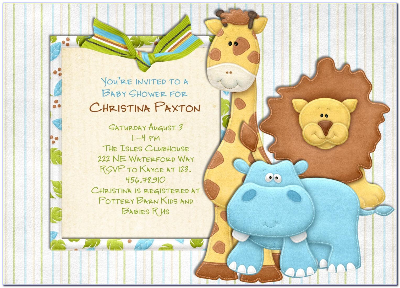 Free Safari Themed Baby Shower Invitation Templates