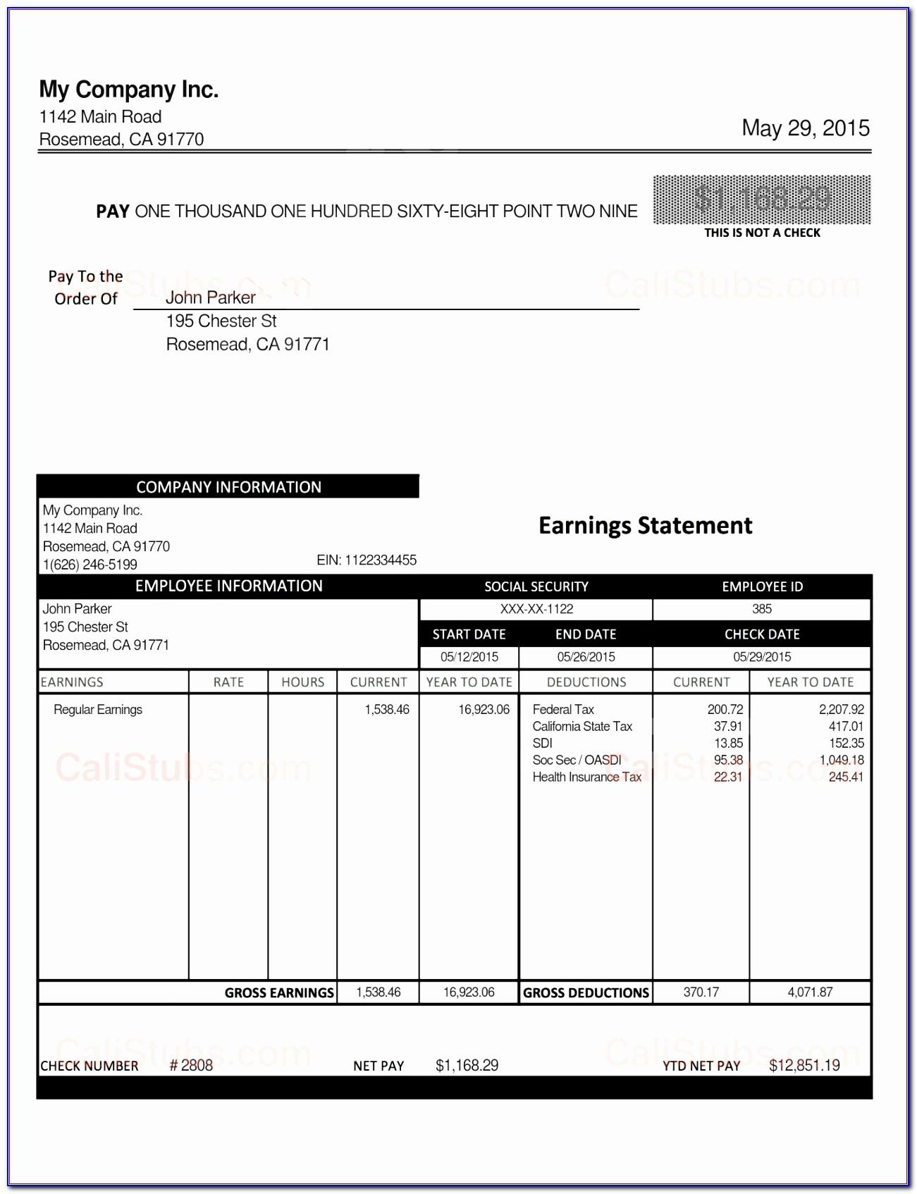 Excel Paycheck Template Uatke Elegant Stub Sample