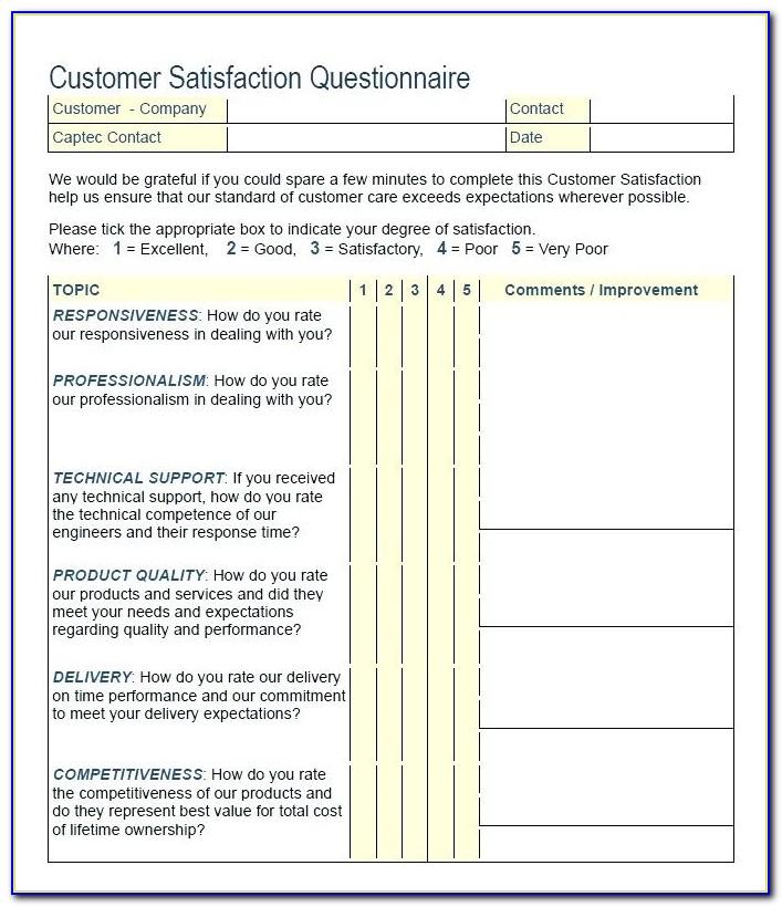 Free Sample Customer Satisfaction Surveys Templates
