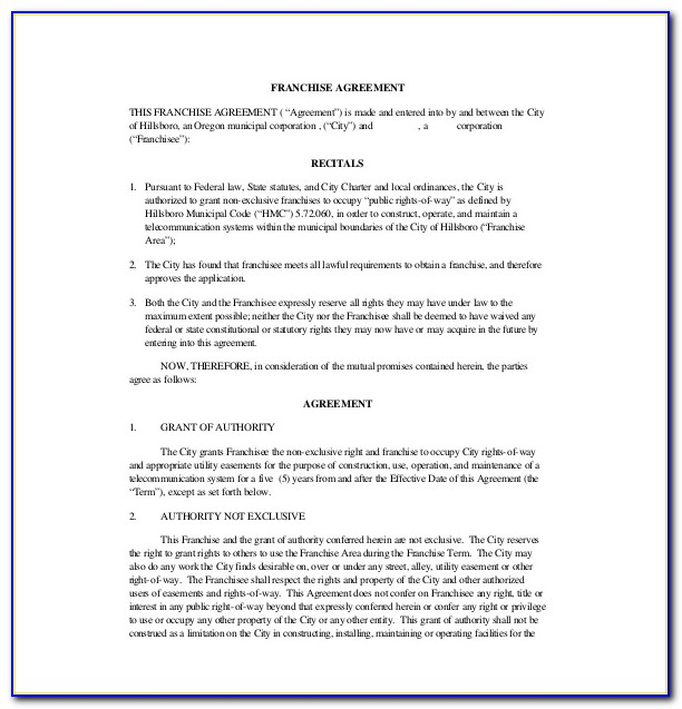 Free Sample Franchise Agreement Template