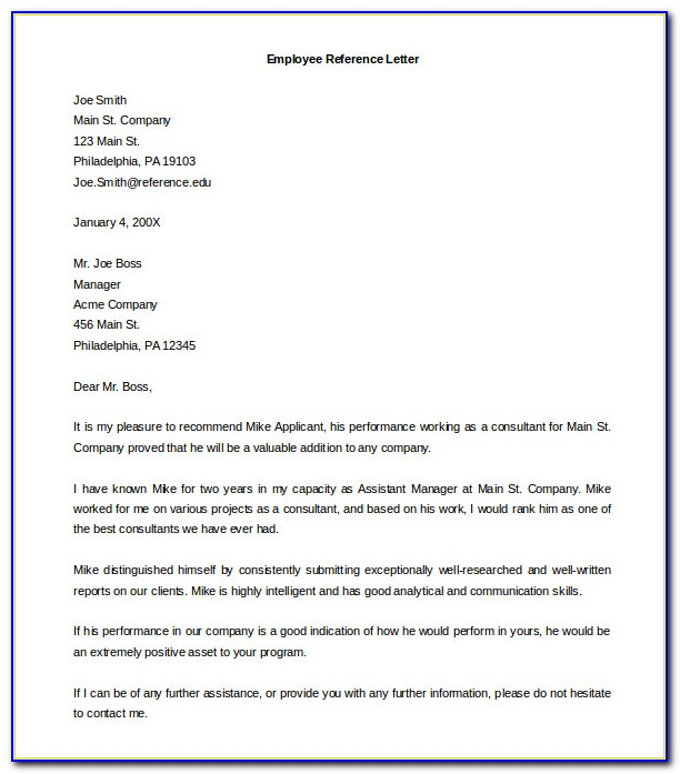 Free Sample Template Recommendation Letter