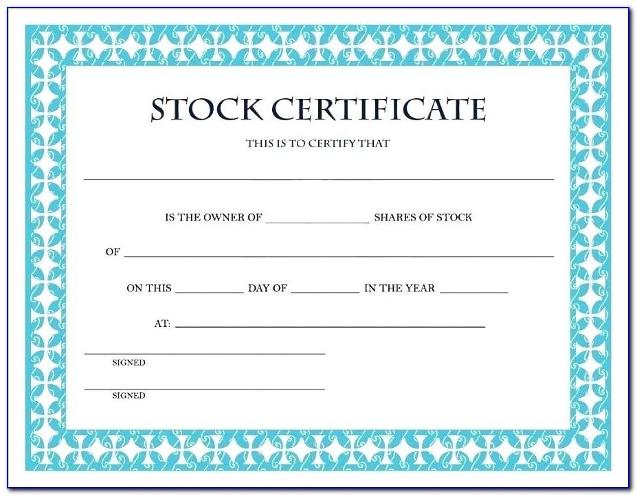 Free Share Certificate Template Australia