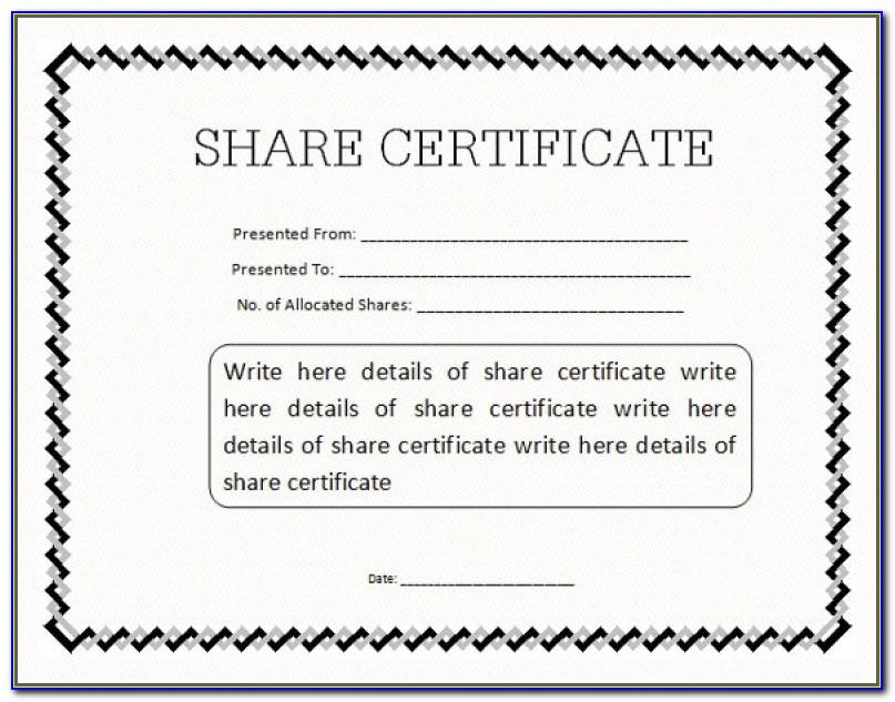 Sample Share Certificate Template Sample As Prepossessing Ideas Stock Certificate Template ? 21 Free Word Pdf