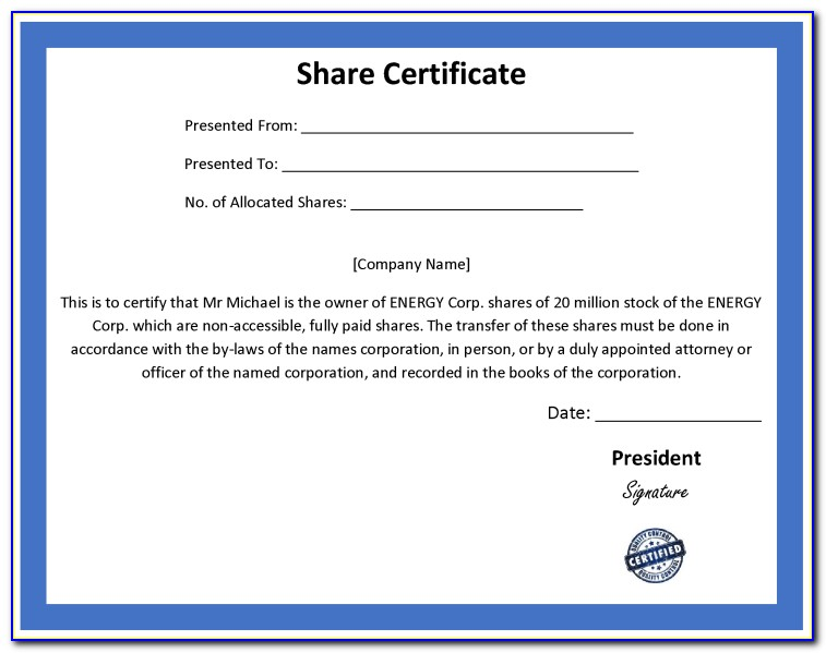 Free Share Certificate Template South Africa