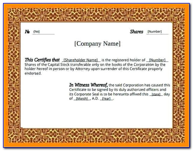 Free Share Certificate Template Word