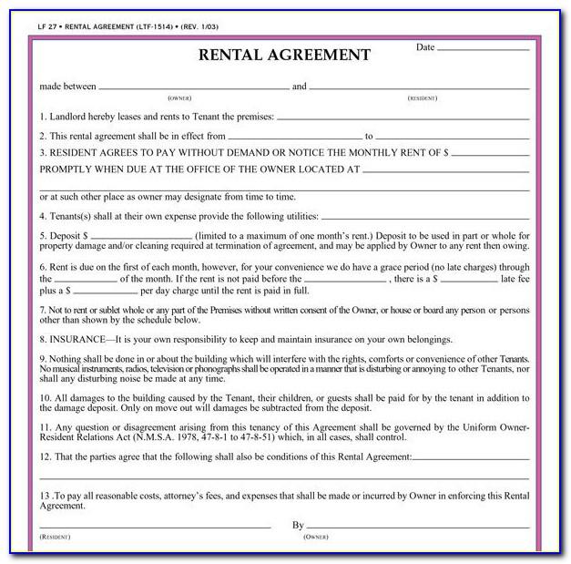 Free Simple Rental Agreements