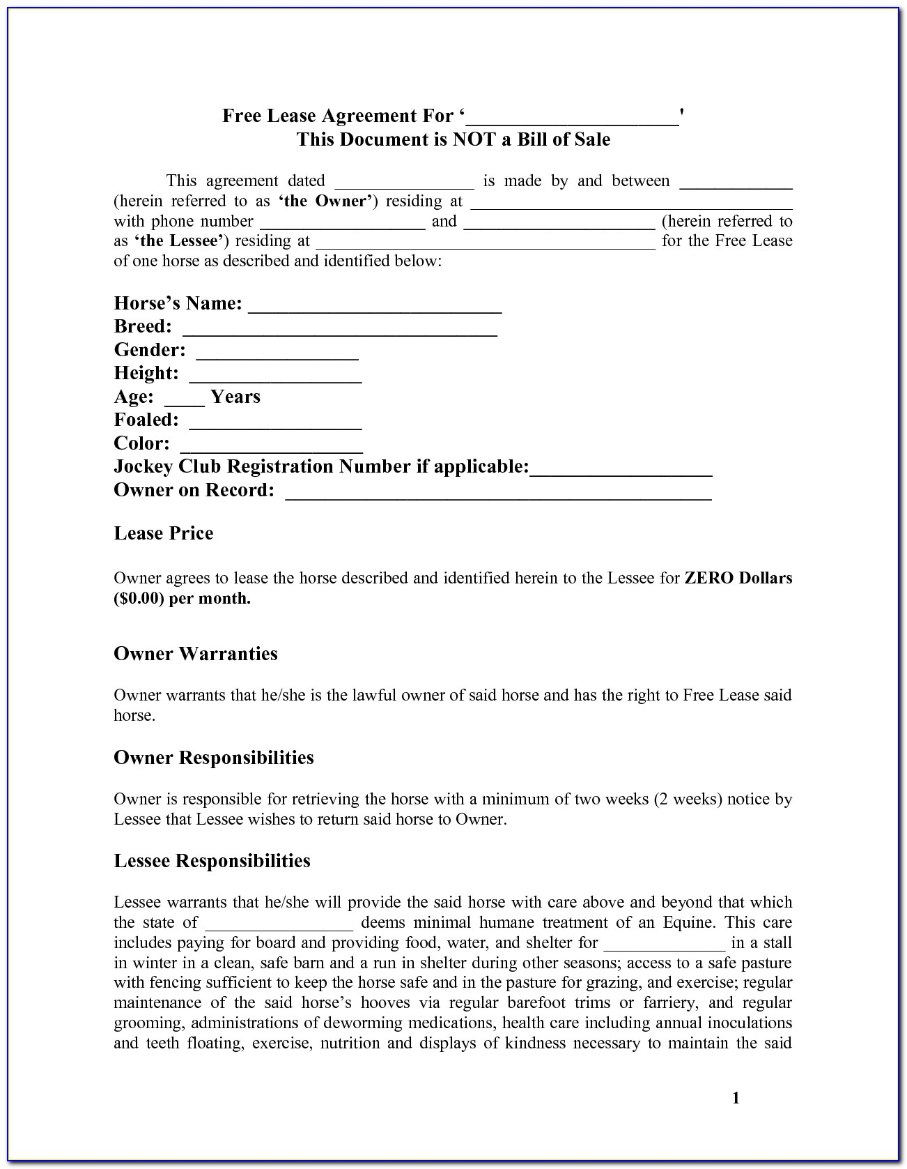 Free Simple Residential Lease Agreement Template South Africa