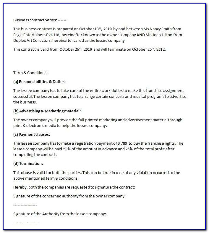 Free Small Business Employment Contract Templates