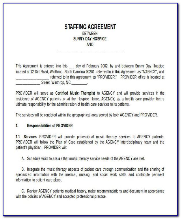 Free Staffing Agency Contract Template