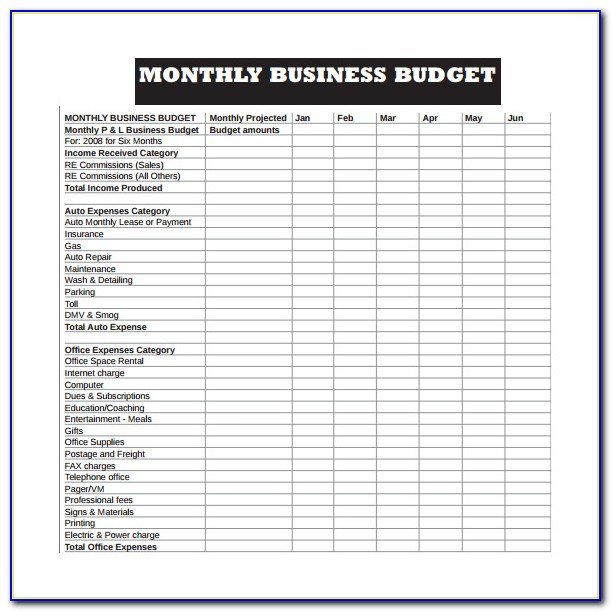 Free Startup Business Budget Template Excel
