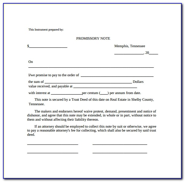 Free Template For Promissory Note Loan
