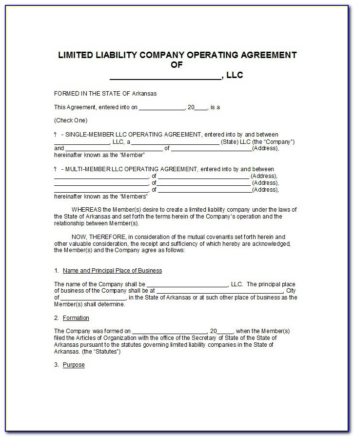 Free Templates For Llc Operating Agreements