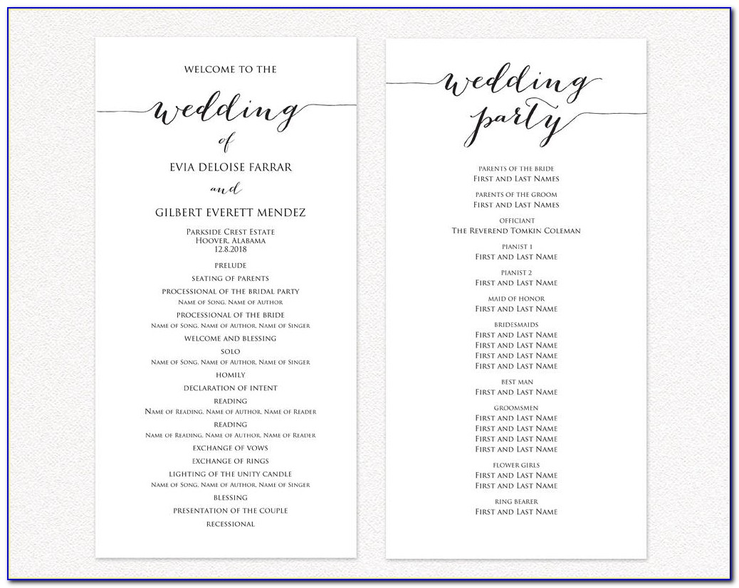 Free Templates For Wedding Programs