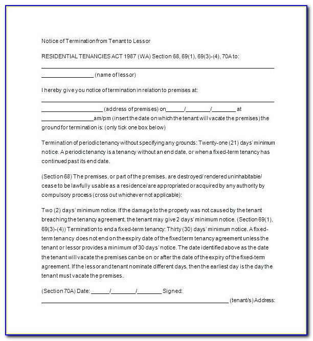 Free Tenancy At Will Agreement Template
