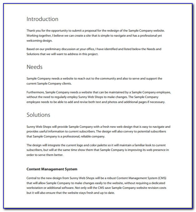 Free Website Proposal Template Download