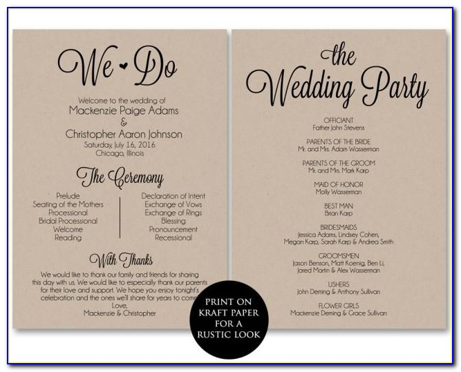 Free Wedding Ceremony Booklet Template