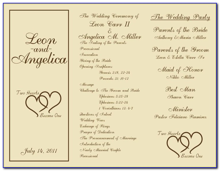 Free Wedding Ceremony Program Templates For Mac