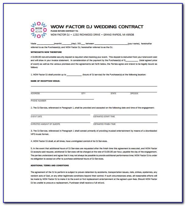 Free Wedding Dj Contract Template