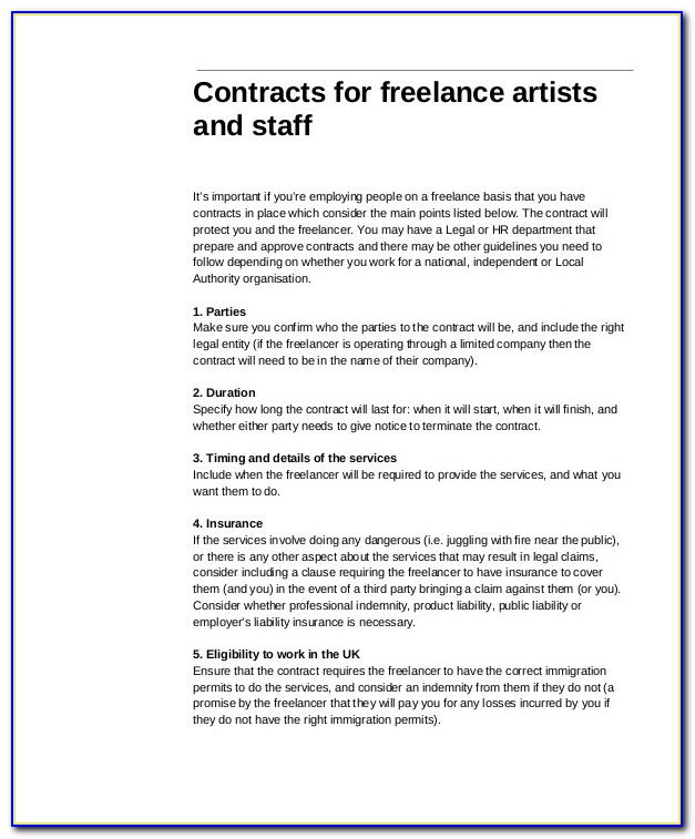 Freelance Contract Sample Pdf