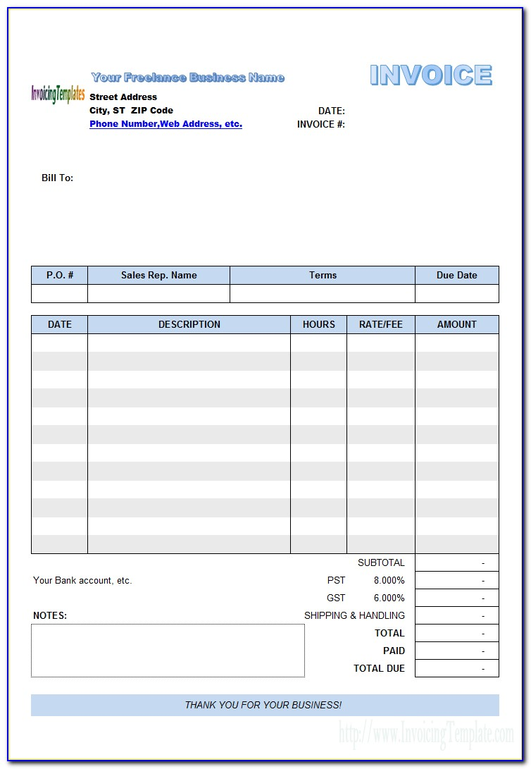 Freelance Invoice Template Uk Excel