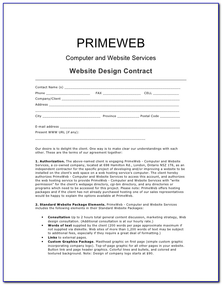 Freelance Website Design Contract Template