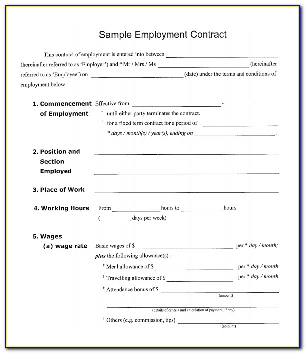 Full Time Employment Contract Example