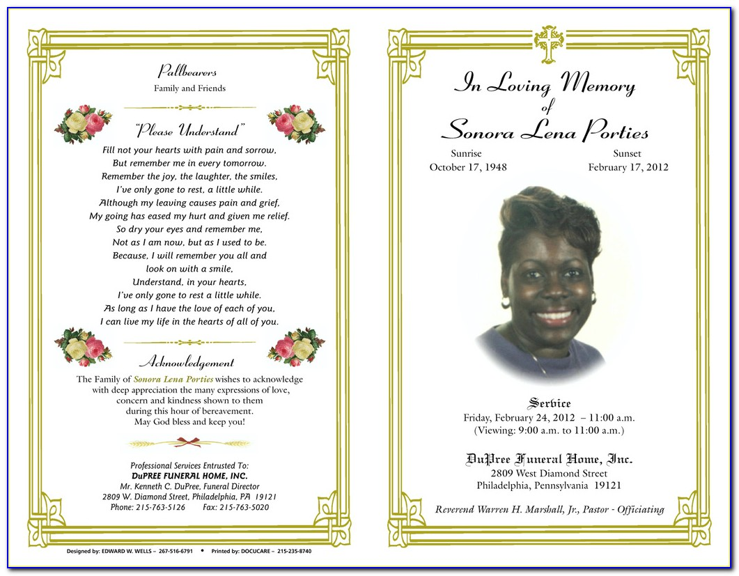 Funeral Booklet Template Download