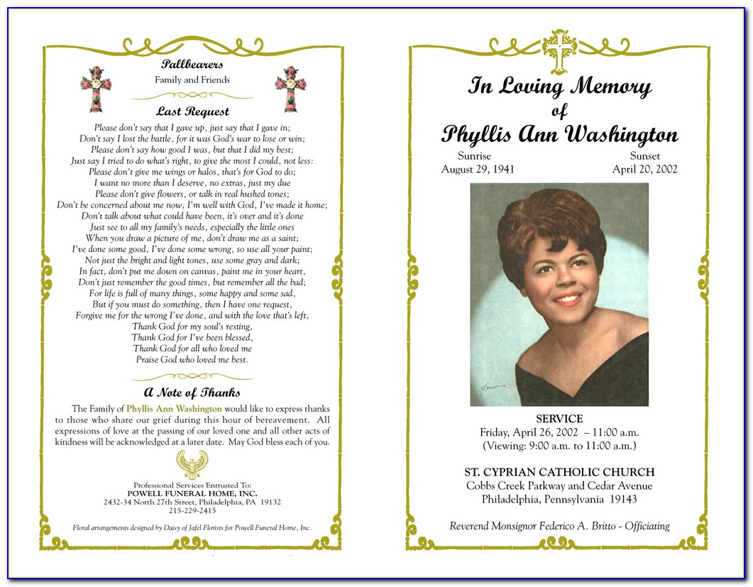 Funeral Booklet Template Indesign