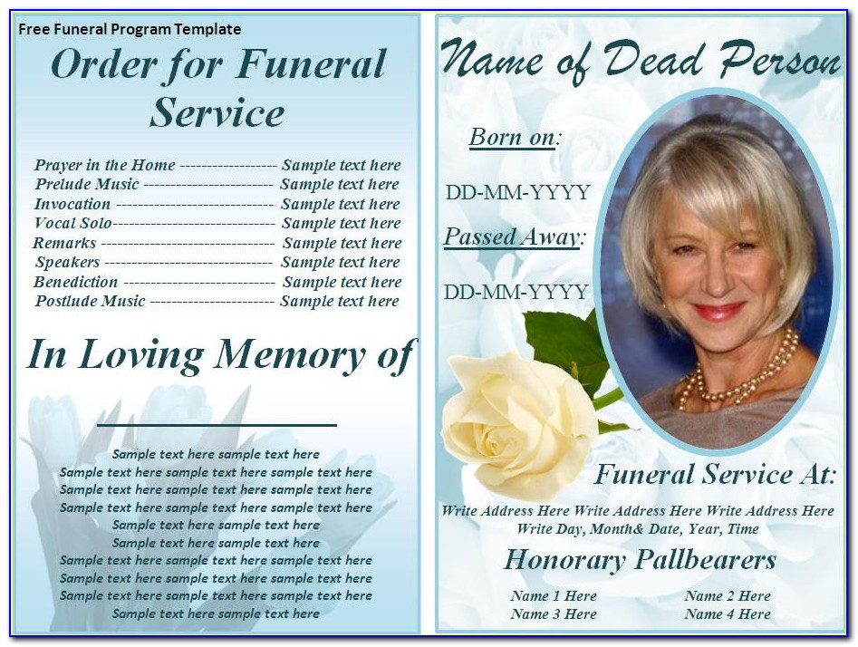 Funeral Booklet Template Word