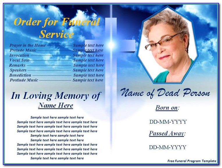 Funeral Bookmark Template Download