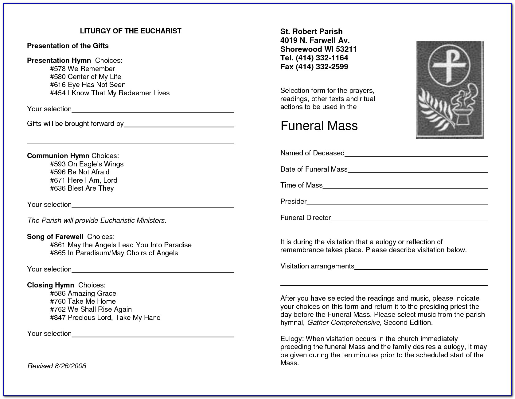Funeral Mass Program Template
