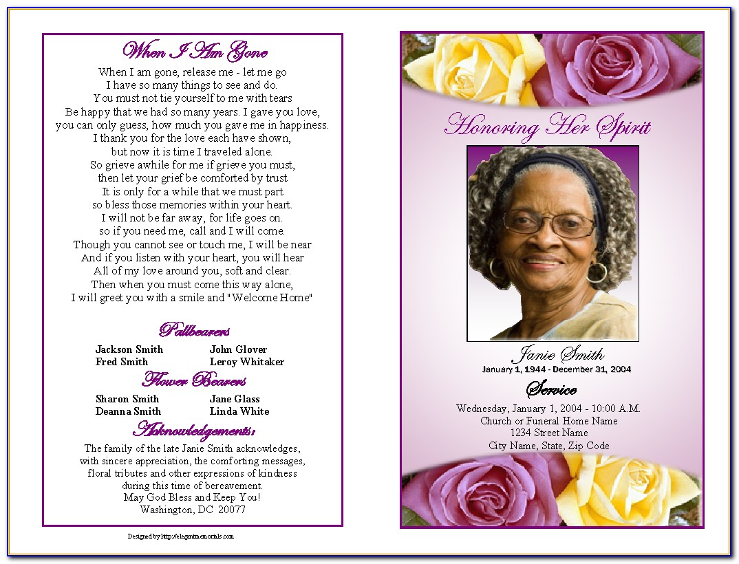Funeral Obituary Program Template