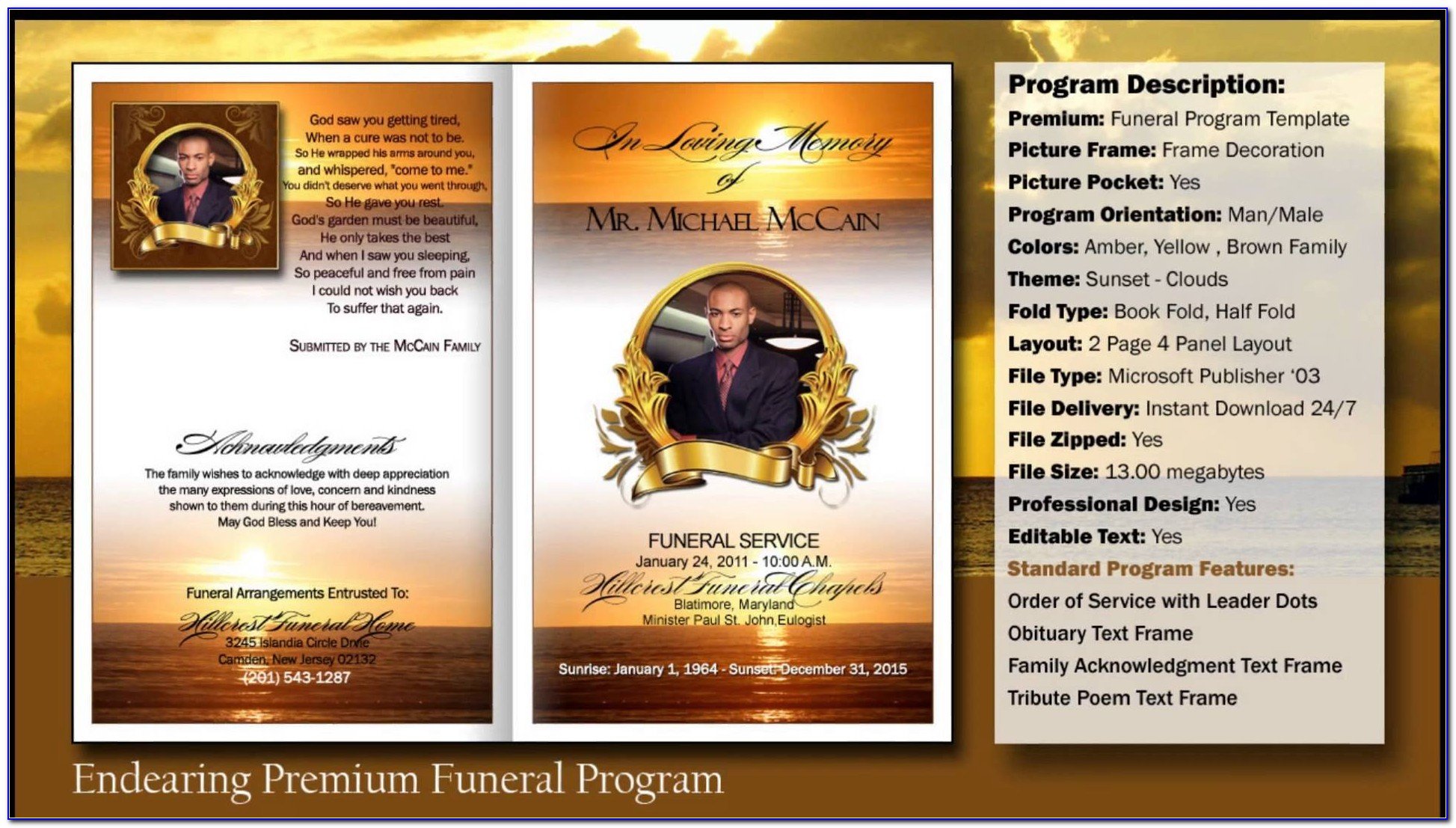 Funeral Program Template Microsoft Publisher