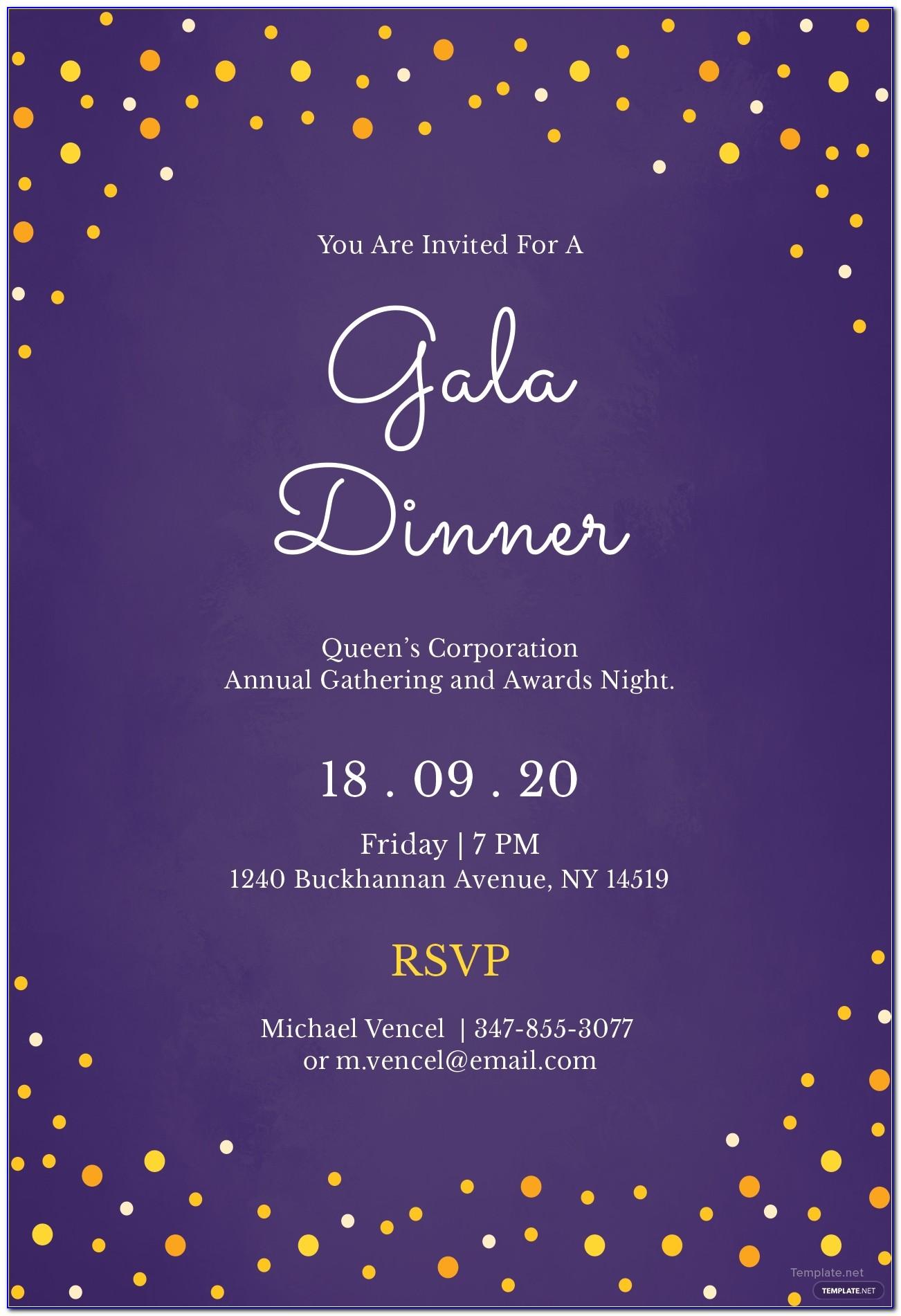 Gala Dinner Invitations Templates