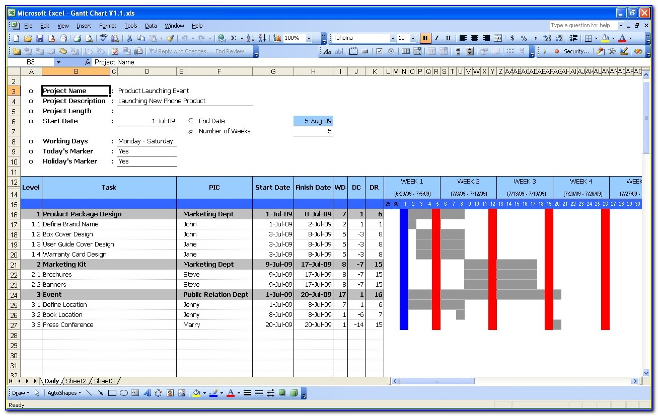 Gantt Chart Templates Free In Excel