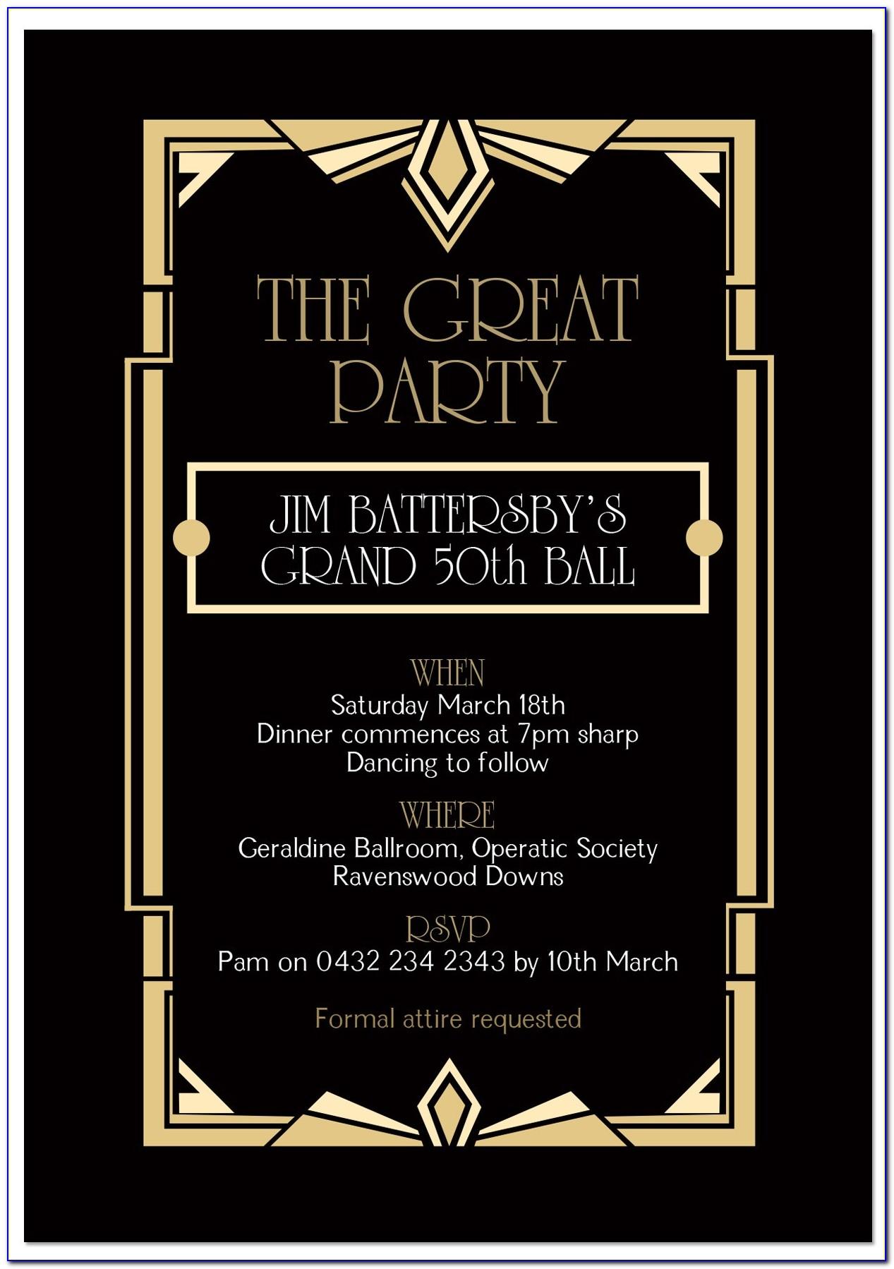 Gatsby Party Invitation Templates