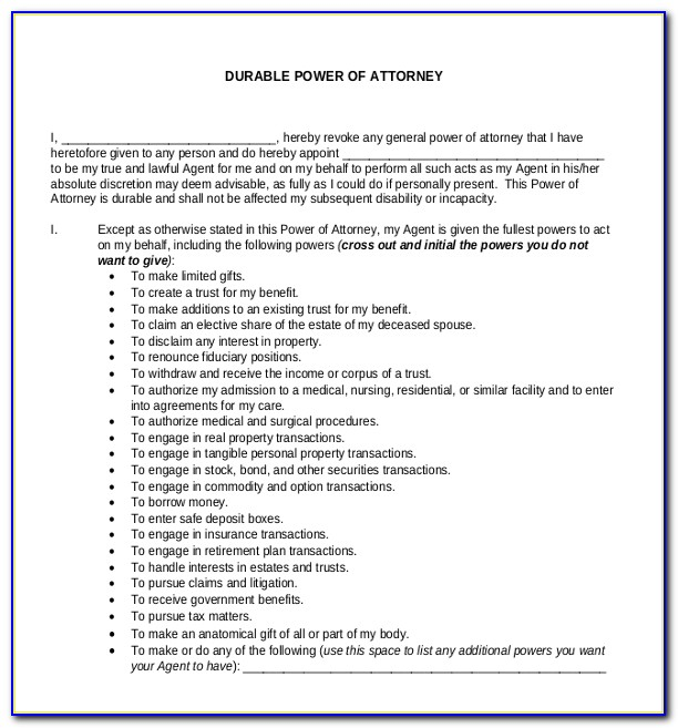 General Power Of Attorney Template Word Uk