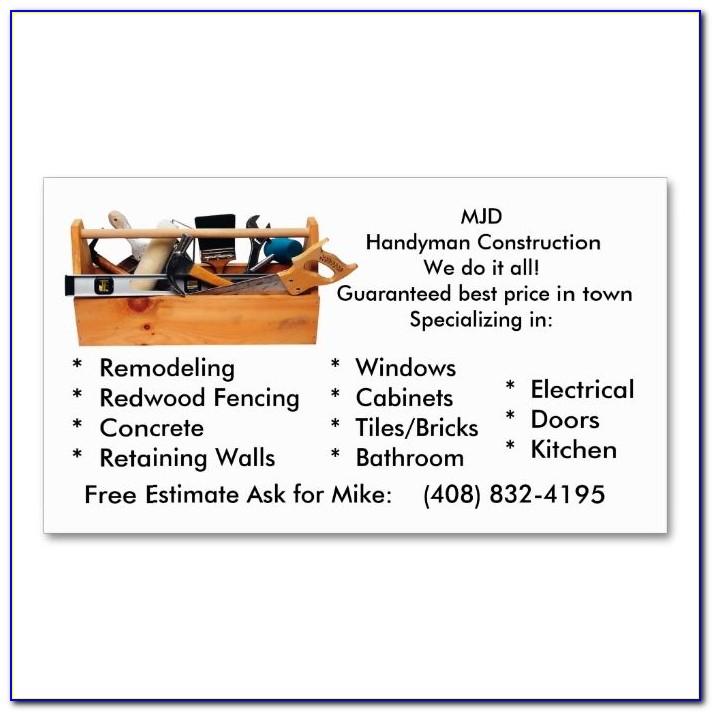 Handyman Business Cards Templates Free