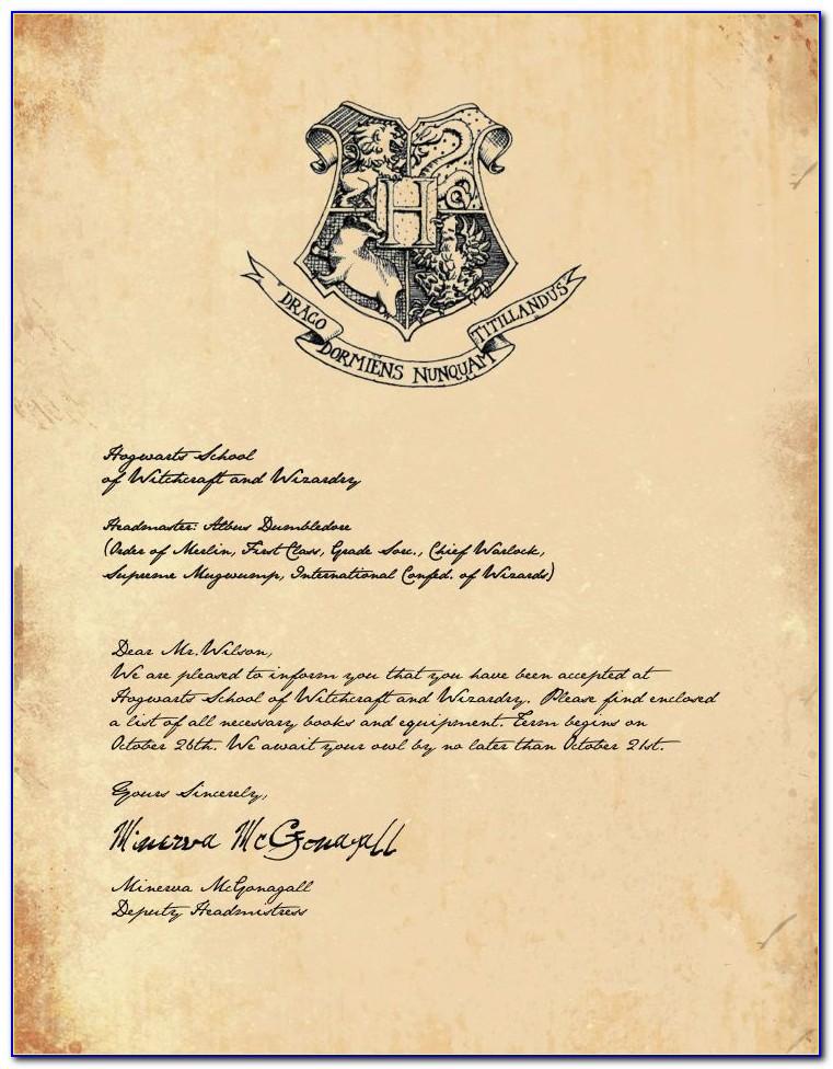 Harry Potter Hogwarts Letter Free Template