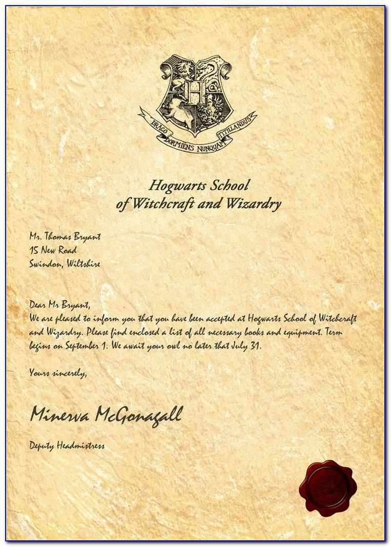 Harry Potter Hogwarts Letter Template Word