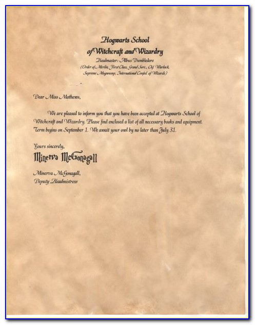 Harry Potter Hogwarts Letter Text