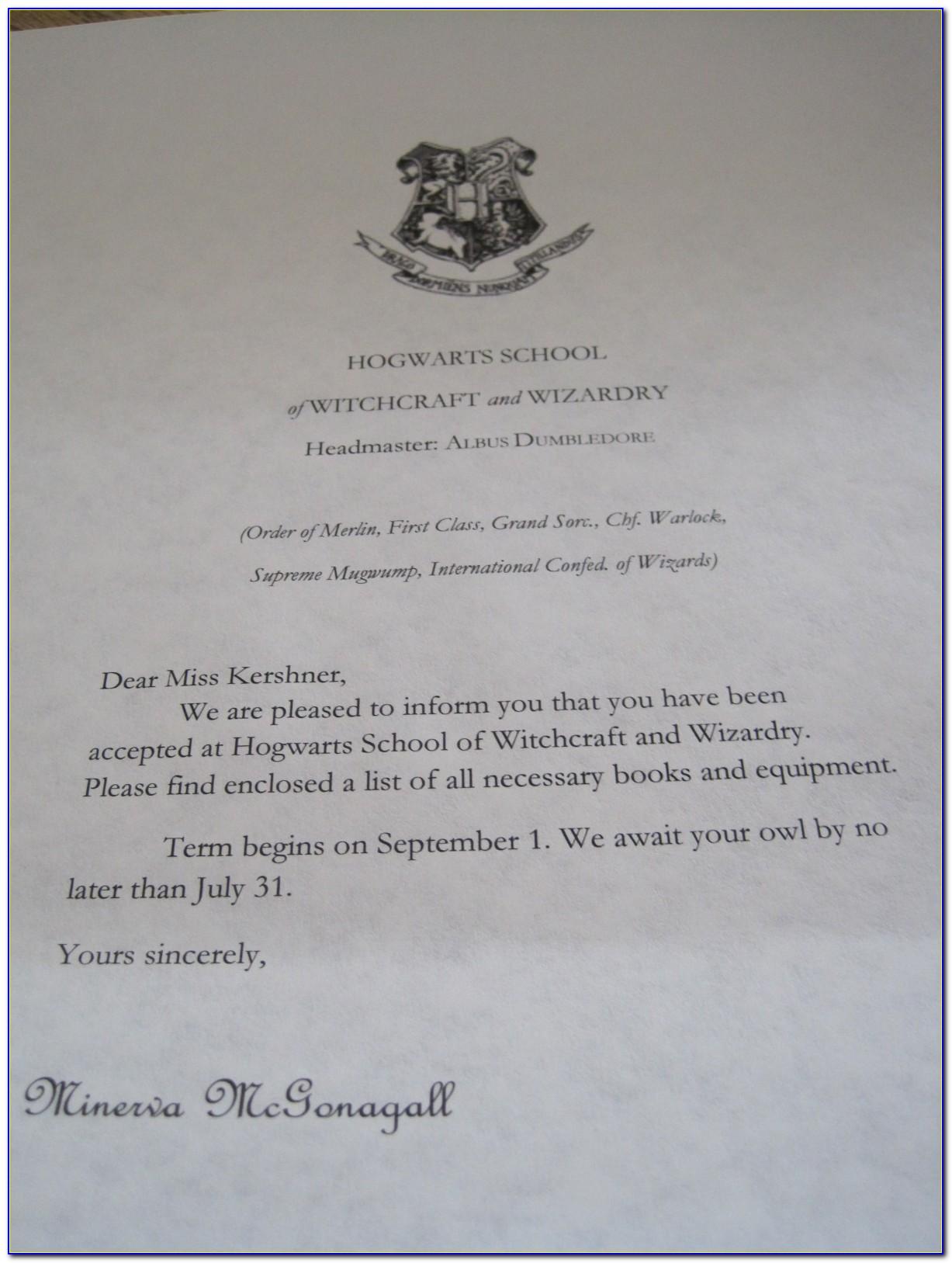 Harry Potter Hogwarts Letter Words