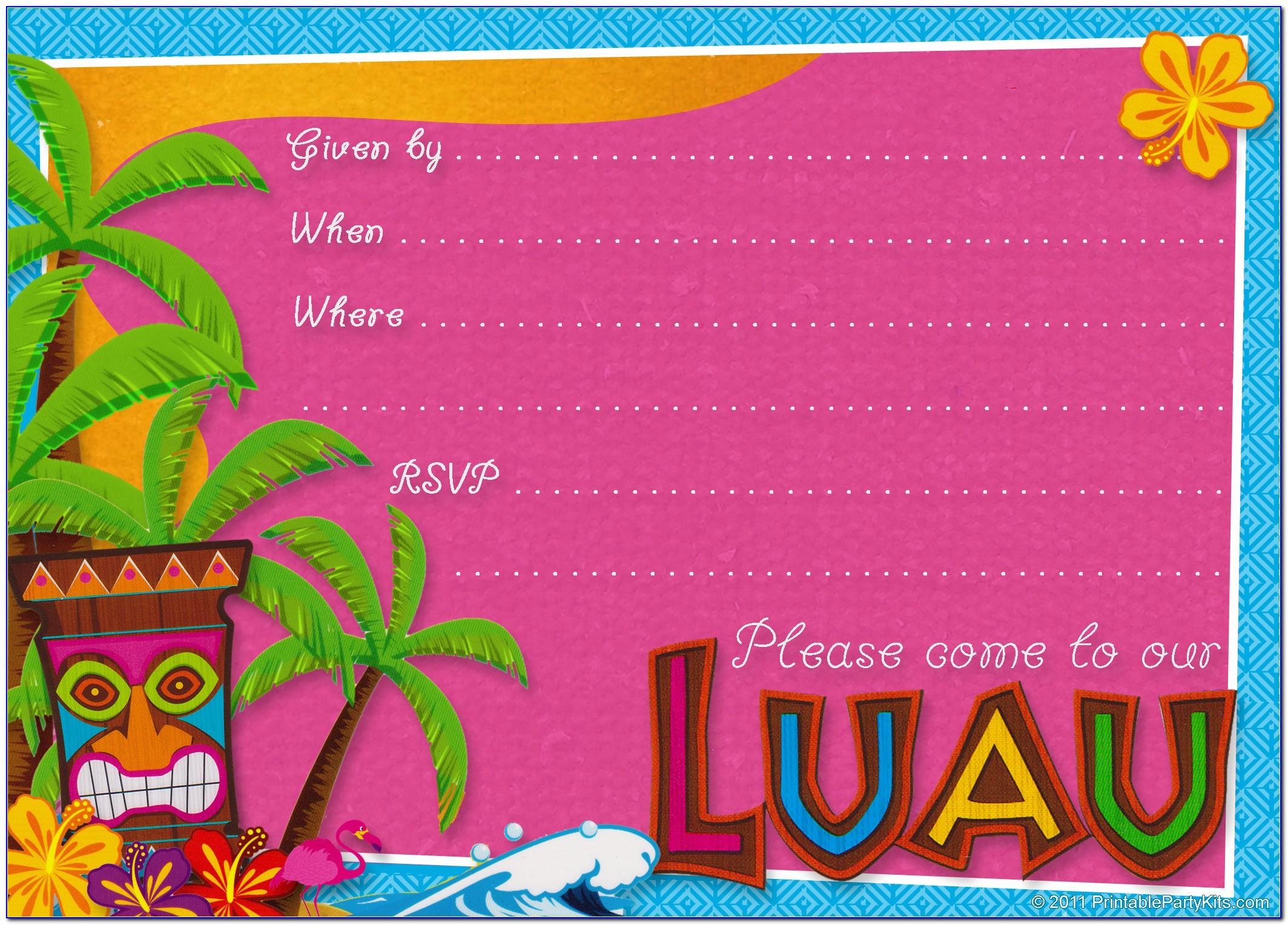 Hawaii Invitation Templates Free