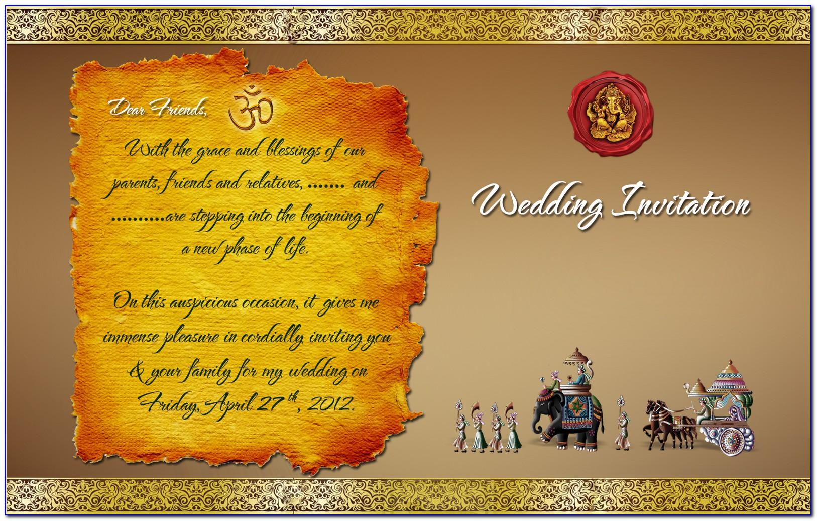 Hindu Wedding Card Templates Free Download