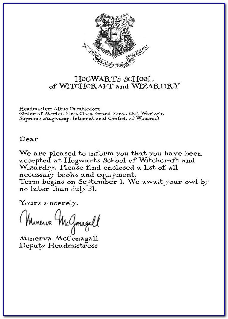Hogwarts Acceptance Letter Word
