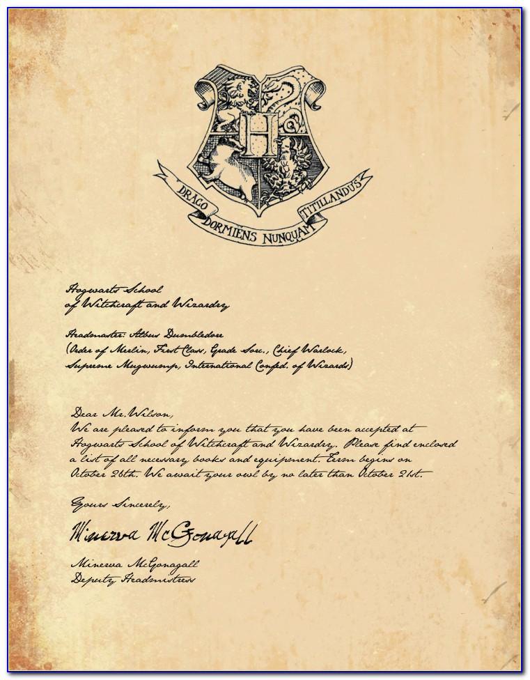 Hogwarts Acceptance Letter Wording