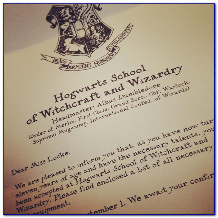 Hogwarts Letter Example