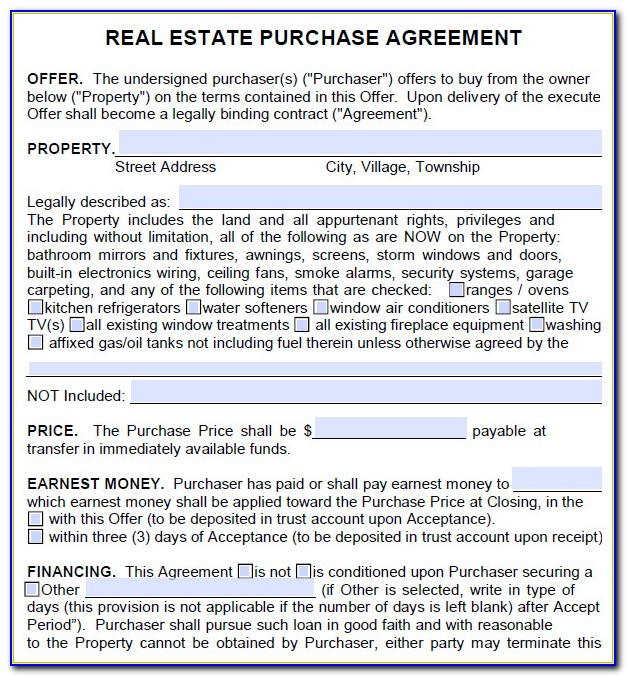 Home Purchase Agreement Template Michigan