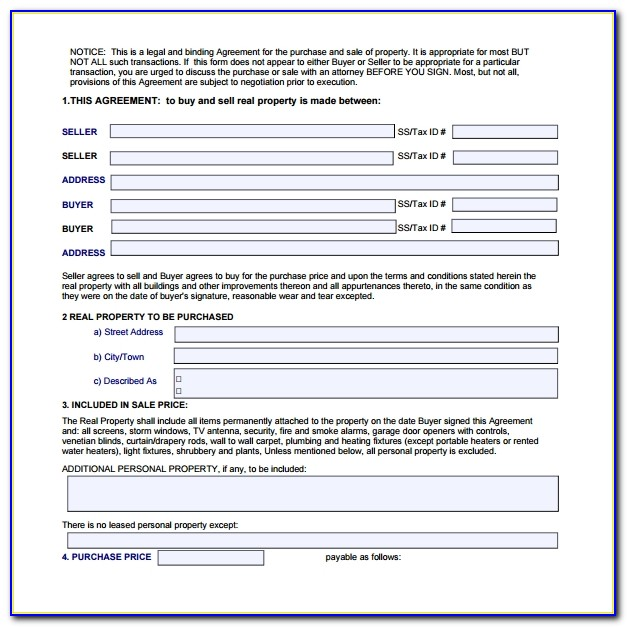 Home Purchase Agreement Template Minnesota